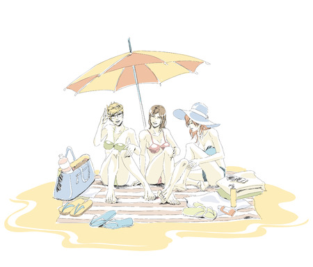 Beautiful girls on sand beach in swimsuits. Two best friends have a rest on sand beach. Girls sit on beach mat under umbrella, theyre talking and laughing. Theirs bags, towels and flip-flops scattered. Vector hand drawing vector in pastel color. Isolated white background.