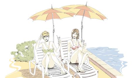 Due migliori amici si riposano in vacanza. Belle ragazze eleganti in costume da bagno si trovano sulla chaise longue vicino alla piscina e bevono cocktail, parlano e ridono. Vettore del disegno della mano di vettore nel colore pastello della tavolozza. Sfondo bianco isolato.