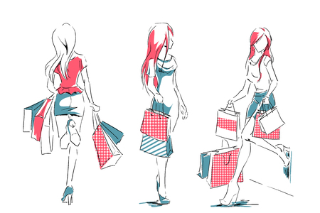 Outline of young girls in full length with shopping bags. Set of fashion color illustrations. Sketch, hand drawing by black lines.
