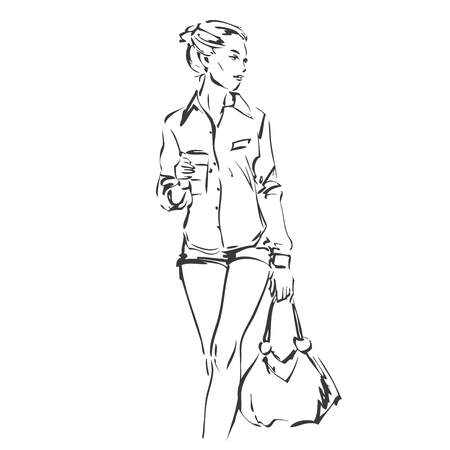 64a238b041 Vector illustration of fashionable young woman. Fashion model in summer  clothes. Coffee to go