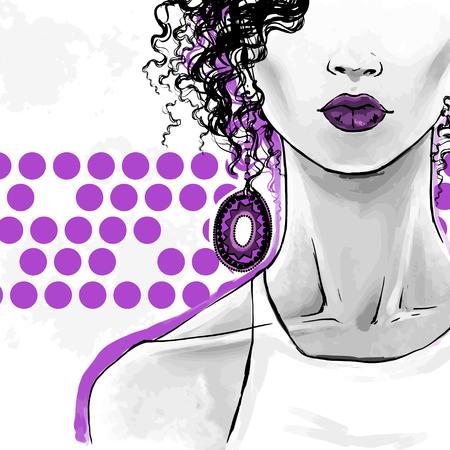 Elegante donna afro con capelli ricci, labbra sensuali e grandi orecchini etnici. Illustrazione di moda vettoriale, disegno a mano libera. Poster art per negozi di bellezza, parrucchieri. Vettoriali