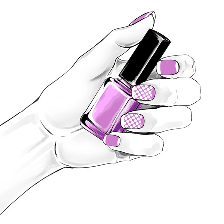 An elegant female hand with a beautiful french manicure holding nail polish. Vector watercolor  fashion illustration with a woman hand for beauty shop and manicure salon.   Archivio Fotografico - 105977414