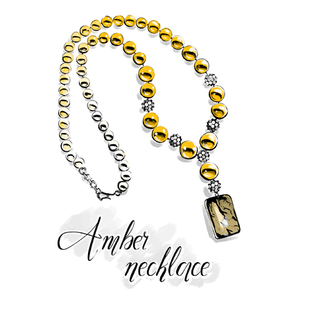 Vector fashion illustration. Beautiful necklace with big shiny beads of semiprecious stones, yellow amber .Isolated drawing on white with a black line contour. Graphic for jewelry salon.  Illustration