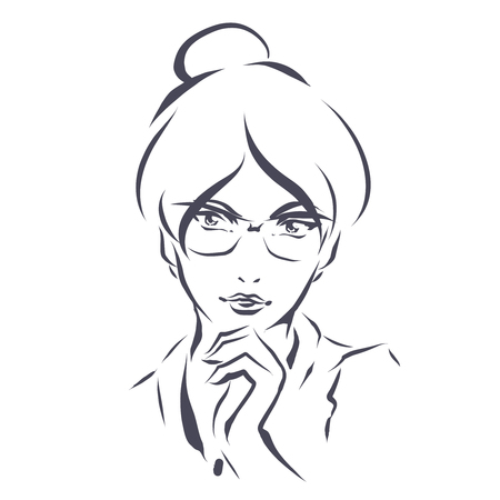 illustration elegant smart woman in glasses. Line art hand drawing.