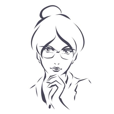 illustration elegant smart woman in glasses. Line art hand drawing.
