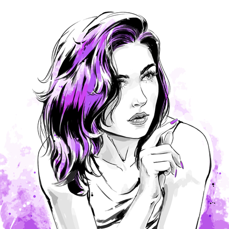 Beautiful young woman in shirt with stylish hairdress. Lovely woman portrait. Sketch. Vector illustration with black contour, isolated on white