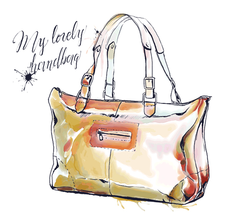Fashion illustration with purse, elegant female colorful handbag. Vector hand drawing of lovely sac isolated on white. Ink and watercolor