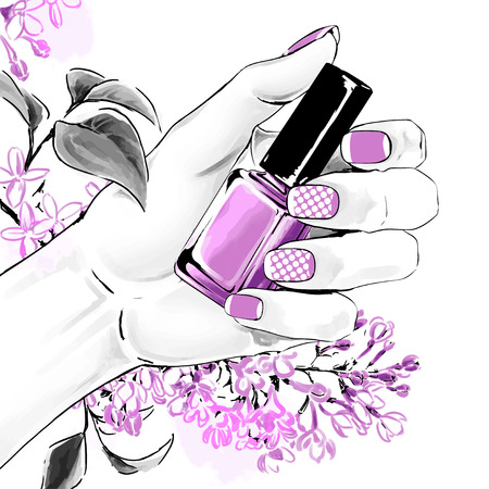 An elegant female hand with a beautiful french manicure holding nail polish. Purple flowers are on background. Vector watercolor fashion illustration with a woman hand for beauty shop and manicure salon.