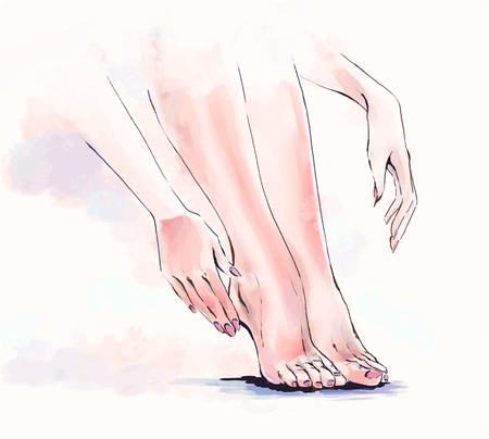 Peinture vectorielle, illustration à main levée de soins du corps, salon de manucure et pédicure. Gros plan des jambes et des mains élégantes de belle femme. Coloration à l'aquarelle. Parties du corps féminin. Vecteurs