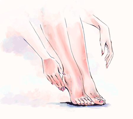 Vector painting, free hand illustration of body care, salon of manicure and pedicure. Close up of elegant beautiful woman legs and hands. Watercolor coloring. Female body parts.