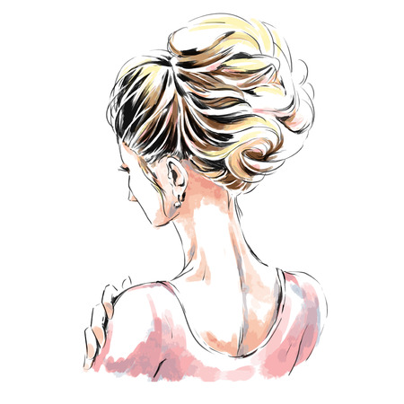 Elegant woman with beautiful evening hairdress. Back view. Watercolor hand drawing.