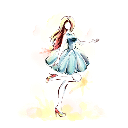Watercolor painting with slender beutiful  girl in evening dress. Woman at full length. Freehand drawing. Fashion illustration