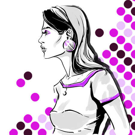 Raster fashion illustration of girl. Profile of beautiful woman with big eyelashes and sensual lips. Background with circles. Hand drawing art.