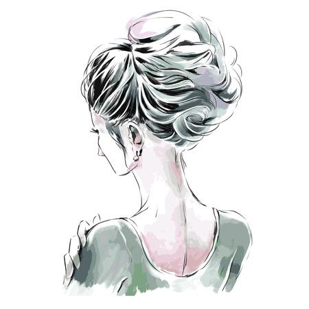 Elegante Frau mit schöner Abendfrisur. Rückansicht. Aquarell Handzeichnung.