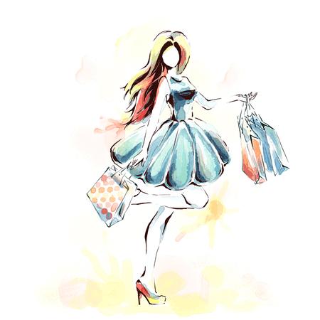 Pintura de acuarela, ilustración de moda. Mujer elegante de pie en vestido de moda con docenas de bolsas de la compra. Chica en toda su longitud. Tema de ventas y compras.