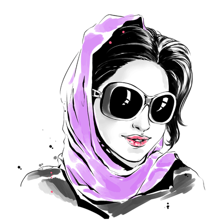 Vector watercolor drawing, fashion illustration. Young caucasian woman in sunglasses and purple scarf.