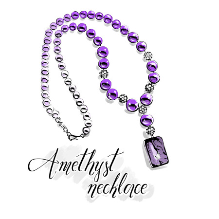 Vector fashion illustration. Beautiful necklace with big shiny beads of semiprecious stones, purple amethyst .Isolated drawing on white with a black line contour. Graphic for jewelry salon.  Illustration