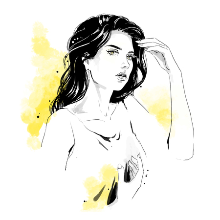 Beautiful young woman in dress with stylish hairdress. Lovely woman portrait. Sketch. Vector illustration with black contour and yellow background, isolated on white