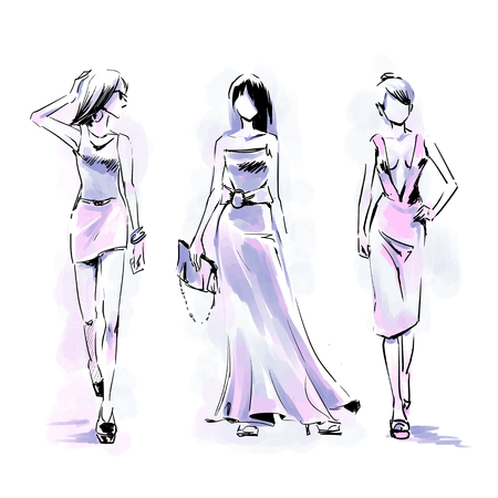 Three silhouette of fashionable models standing on catwalk. Fashion free hand illustration. Vector watercolor drawing