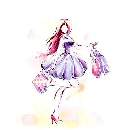 Watercolor painting, fashion illustration. Standing elegant woman in fashionable dress holding dozen of shopping bags. Girl at full length. Sales and shopping theme.