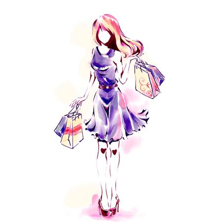 Aquarellmalerei, Modeillustration. Stehende elegante Frau in modischer Kleidung mit Dutzenden von Einkaufstüten. Mädchen in voller Länge. Thema Verkauf und Einkaufen.