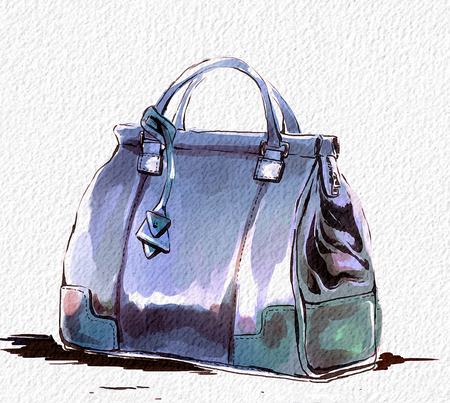 Fashion illustration with purse, female blue stylish handbag. Watercolor raster hand drawing with texture