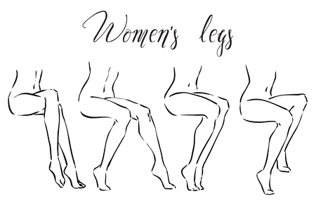 Set from four variants of elegant slender female legs. Vector monochrome image. Set of women's legs. Icons for spa treatmens, hair removal, massage etc