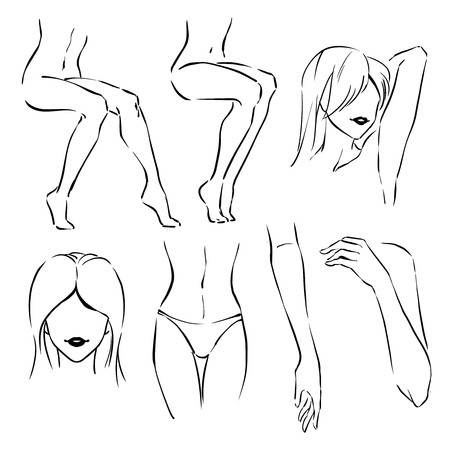 35aa2bb17 Icon set of simple line drawings with most popular zones for hair  depilation: legs,