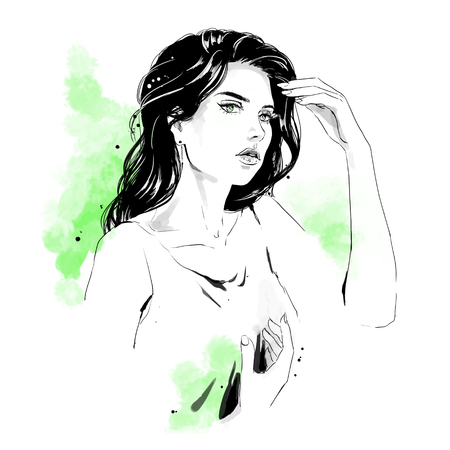 Beautiful young woman in dress with stylish hairdress. Lovely woman portrait. Sketch. Vector illustration with black contour and green background, isolated on white Ilustração