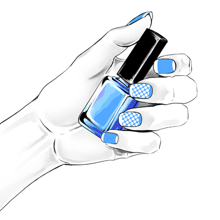An elegant female hand with a beautiful french manicure holding nail polish. Vector watercolor  fashion illustration with a woman hand for beauty shop and manicure salon.
