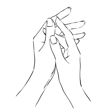 Women hands using moisturizing cream. Freehand drawing with black lines, line art. Vector monochrome image. Fit as symbolic icon of spa treatment or taking care of yourself. 矢量图片