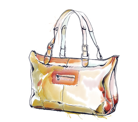 Fashion illustration with purse, female colorful handbag. Watercolor raster hand drawing of lovely sac isolated on white Banque d'images