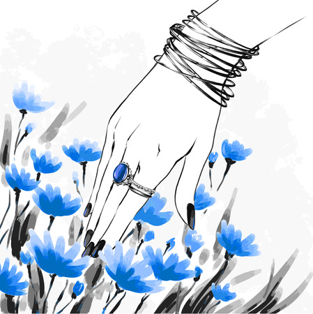Fashion illustration, sketch, freehand. Elegant female hand with beautiful manicure wearing rings and bracelets on wrist. Flower on background. Poster card for nail shops, beauty salons etc