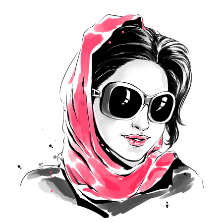 Vector watercolor drawing, fashion illustration. Young caucasian woman in sunglasses and red scarf.