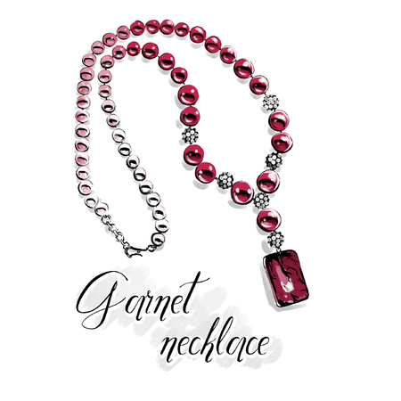 Vector fashion illustration. Beautiful necklace with big shiny beads of semiprecious stones, red garnet.Isolated drawing on white with a black line contour. Graphic for jewelry salon.  向量圖像