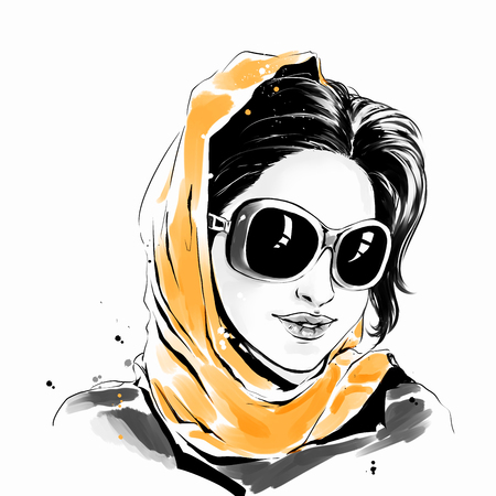 Watercolor drawing, fashion illustration. Young caucasian woman with sensual lips, girl in sunglasses and scarf. Freehand drawn graphic.