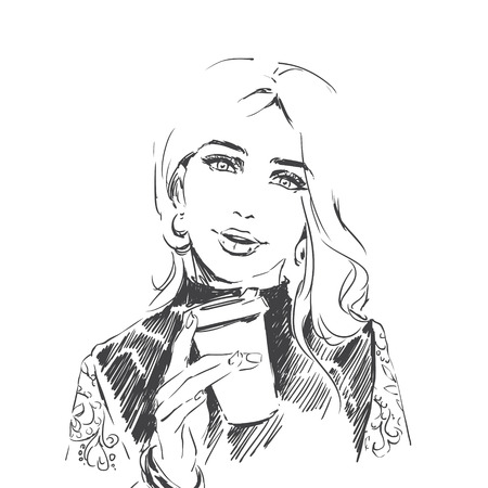 Fashion illustration of young elegant beautiful girl holding cup coffee Portrait of adult woman. Black and white sketch vector drawing on white background perfectly fits for coffee shop, bar interior 向量圖像