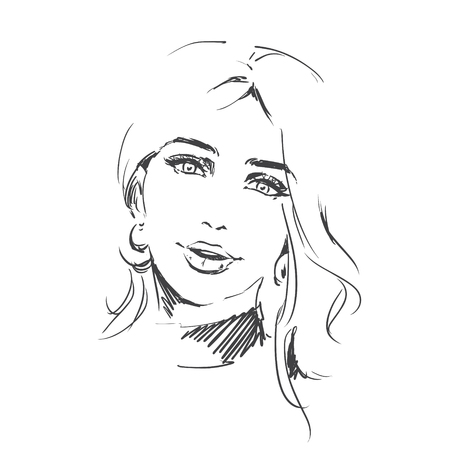 Fashion portrait of young beautiful woman, female head. Girl with pretty face. Scribble line art illustration, Fashion sketch on white background