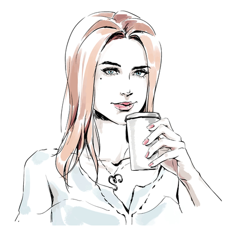 Fashion illustration of young elegant beautiful girl holding cup coffee. Portrait of fashionable adult woman. Color vector hand drawing on white background perfectly fits for coffee shop, bar interior