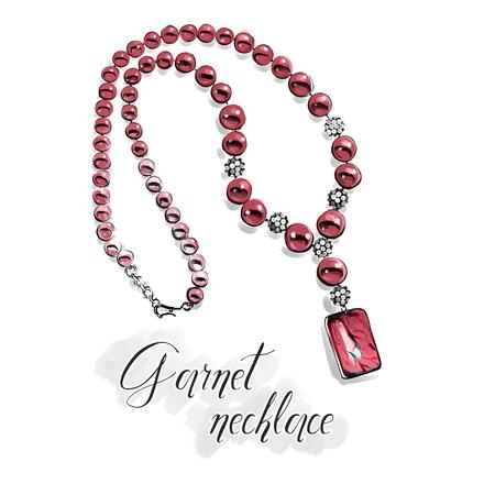 Illustration de mode à main levée. Beau collier avec de grosses perles brillantes de pierres semi-précieuses, grenat rouge. Dessin isolé sur blanc avec contour de ligne noire. Graphique pour salon de bijoux. Banque d'images