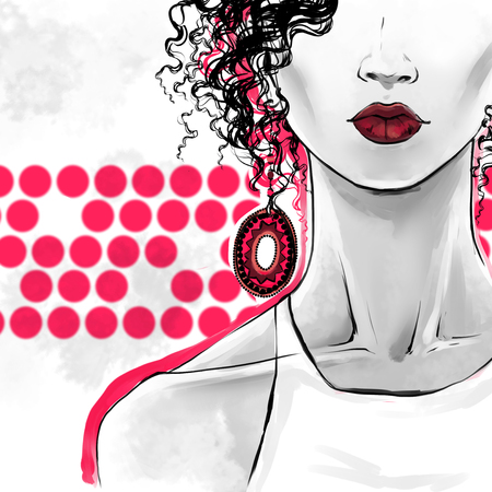 Elegant afro woman with curly hair, sensual lips and  big ethnic earrings.  fashion illustration, freehand drawing. Poster art for beauty shops, hairdressers. Red, gray colors Zdjęcie Seryjne