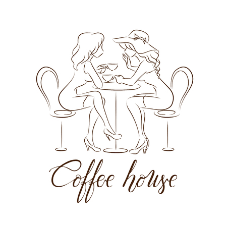Elegant modern logotype for coffee house or shop.  Two girls sitting talking and drinking cups of coffee.  Line silhouette of two pretty women.  Vector freehand drawn emblem. Brown color.