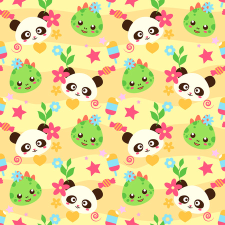 Pattern with cute funny animals in japanese style. Good for wrapper and textile, child goods. Vector seamless pattern.