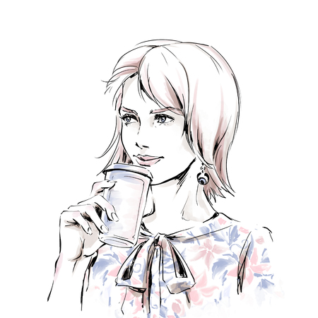 Fashion illustration of young elegant beautiful girl holding cup coffee. Portrait of fashionable adult woman. Color raster hand drawing on white background perfectly fits for coffee shop, bar interior