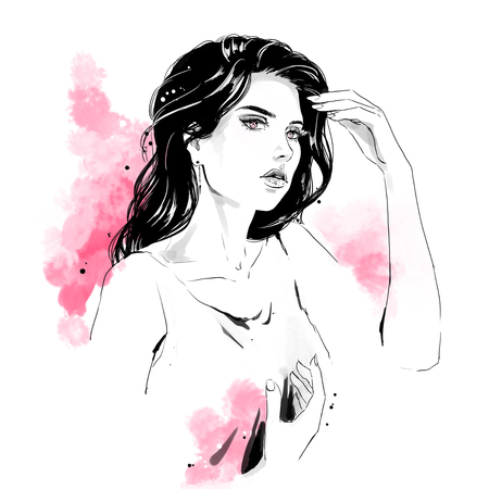 Beautiful young woman in shirt with stylish hairdress. Lovely woman portrait. Sketch. llustration with black contour, isolated on white