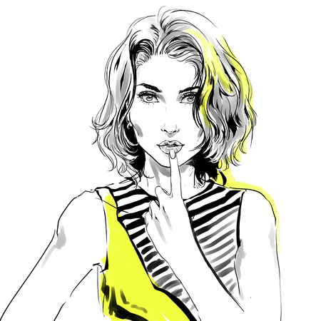 Watercolor drawing, fashion illustration. Young caucasian flirty woman with modern haircut and big eyes touching her sensual lips by hand. Grey and  yellow colors. Isolated on white Zdjęcie Seryjne