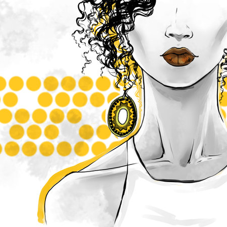 Elegant afro woman with curly hair, sensual lips and  big ethnic earrings.  fashion illustration, freehand drawing. Poster art for beauty shops, hairdressers.Yellow, orange gray colors