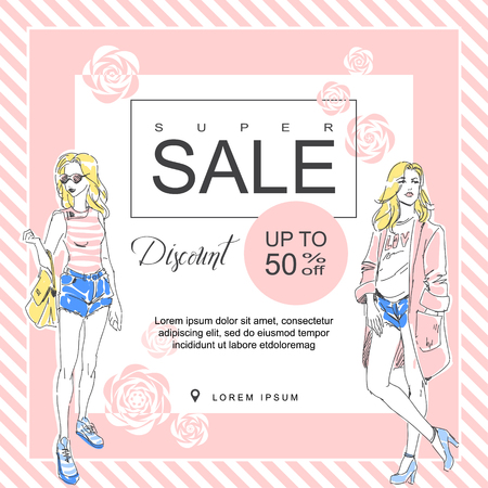 Layout for a big sale in fashion shop. Drawn fashion elegant girl in stylish clothes. Vector color booklet. Square brochure
