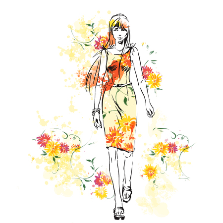 Elegant beautiful woman in fashion clothes on  bright colorful background with spring flowers. Standing pose. Watercolor illustration. Hand drawing