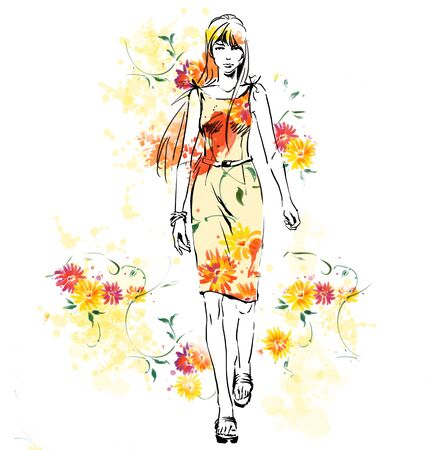 Elegant beautiful woman in fashion clothes on  bright colorful background with spring flowers. Standing pose. Raster watercolor illustration. Hand drawing Zdjęcie Seryjne